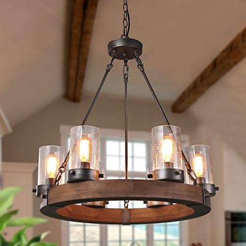 GEPOW Farmhouse Wood Chandelier, Round Wagon Wheel Light Fixture with Seeded Glass Shades for Dining...