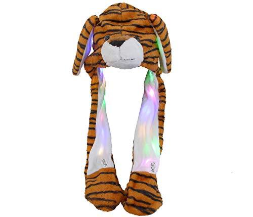 Alsino Lustige Tier Wackelohren Mützen mit beweglichen Plüsch Ohren Happy Ears zum Drücken Hut Spielzeug mit LED Licht für Mädchen (Tiger)