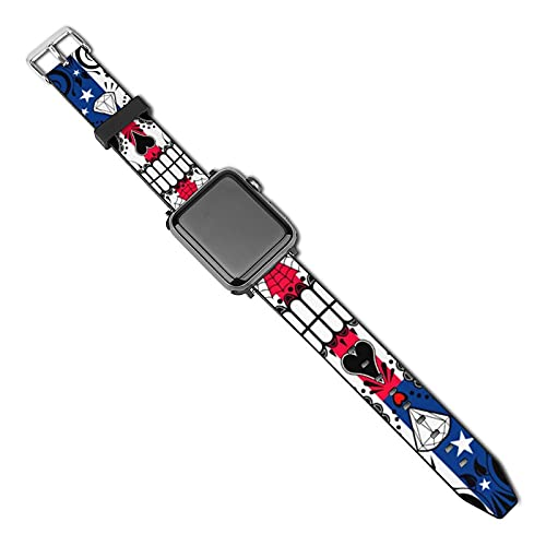 SWEET TANG Apple Watch Band 38mm/40mm, 42mm/44mm Compatible for Apple iwatch - Women Men Duarable Elastics PU Wristbands Strap Replacement (American Flag Patriot Skull iwatch Bands)