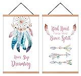 HPNIUB Juego de 2 cuadros pared para habitación infantil, diseño acuarela bohemio niña, juego pósteres moderno, citas en espiral, bebé, salón, regalo, marco madera, 28 x 45 cm