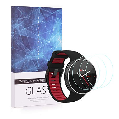 UIQELYS 3-Pack Screen Protector for Polar Vantage V Titan, Polar Vantage V Pro Smartwatch, Full Coverage 2.5D 9H Hardness Tempered Glass Protective Film Scratch Resistant