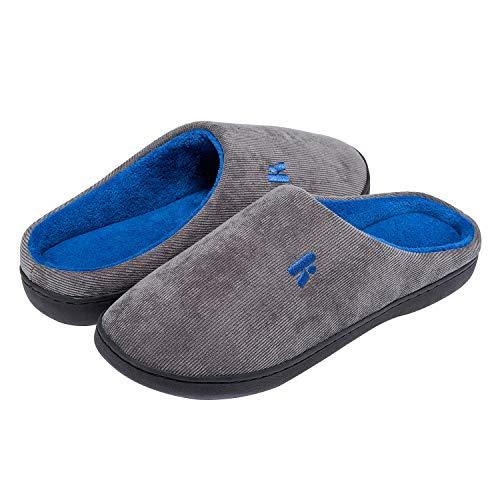Yorgou Damen Herren Hausschuhe aus Memory-Baumwolle Drinnen Anti-Skid Warme Bequem Plüsch Pantoffeln Home Winter,Grau / Blau,44/45 EU ( Hersteller Größe: 300 )