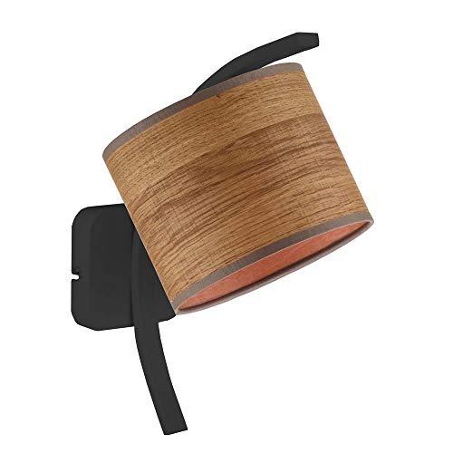 TEKSAS ECO - Lámpara de pared con pantalla de castaño, marco negro