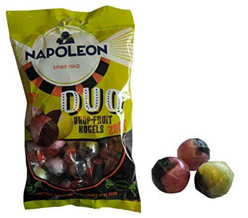 Fruchtige Bonbons   Napoleon   Erdbeer-Himbeer-Bananen-Duo-Süßholz-Frucht-Kugeln   Gesamtgewicht 175 Gramm