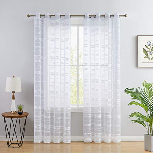 HLC.ME Broadway Stripe Decorative Semi Sheer Light Filtering Grommet Window Treatment Curtain Drapery Panels for Bedroom & Living Room - Set of 2 Panels (54 x 63 inches Long, White)