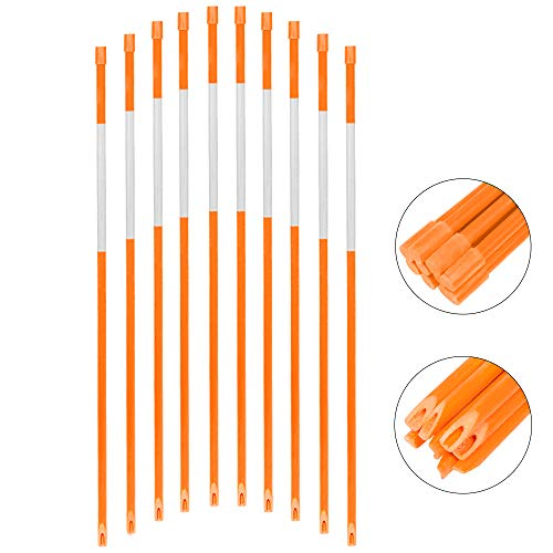 FiberMarker 72Inch Reflective Driveway Markers Driveway Poles for Easy Visibility at Night 1/4Inch Diameter Orange,20pack