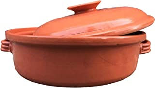 Casserole Dish,Glazed Natural Cooker/Roaster, Turkey Large Size Cooking Tureen, Clay Covered Casserole for Slow Cooking (14