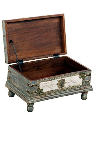 Orientalische Truhe Kiste aus Holz Arjuna Grau - 47cm groß | Vintage Sitzbank mit Aufbewahrung für den Flur | Aufbewahrungsbox mit Deckel im Bad | Betttruhe als Kissenbox oder Deko im Schlafzimmer - 3