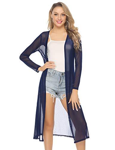 Abollria Damen Sommer Cardigan Leichte Lange Jacke Transparente Offene Strickjacke mit Seitenschlitze, Blau, Gr.- M
