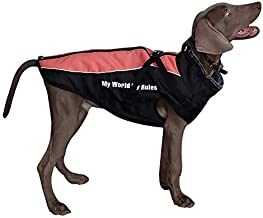 Dog Jacket - Winter Coat for Dogs Extra Warm Plush Collar- Waterproof Windproof Pet Jacket for Hiking Camping with Zipper Closure Reflective Dog Vest for Medium Large Dogs Build-in Harness Red 5XL