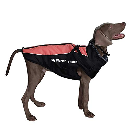 Dociote Abrigo para Perro con Arnes - Reflectante de Invierno Chaqueta Ropa con Forro Polar para Perros medianos y Grandes Rojo 5XL