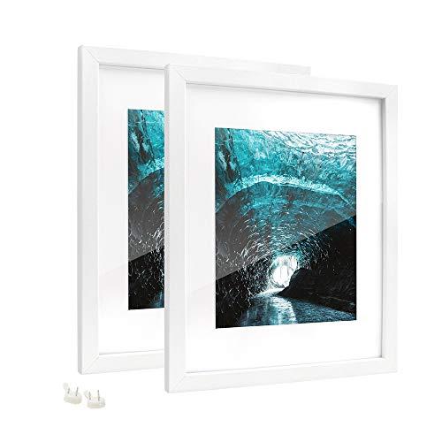 Afuly Grandes Marco de Fotos Blanco 20x25 cm o 28x36 cm con Soporte Modernos MDF con Vidrio acrílico para Pared,Pack de 2