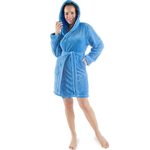 CelinaTex Korfu Albornoz Capucha Uni Corto Bolsillos Laterales Señoras Vellón de Sherpa XL Azul