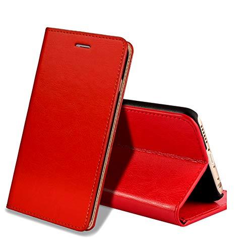 EATCYE Custodia iPhone 6S Plus,Cover iPhone 6 Plus, Custodia in Vera Pelle Pelle Libro Portafoglio in Pelle Magnetic Closure Paraurti per Apple iPhone 6S Plus/iPhone 6 Plus (Rosso)