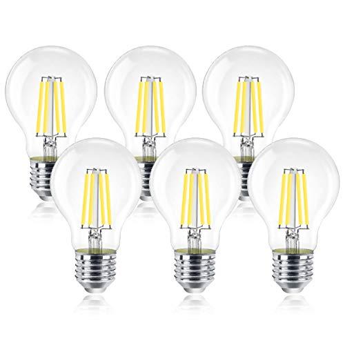 Extrastar Bombillas de Filamento LED E27, Bombilla Retro Vintage 6W (Equivalente a 60W), 600 lm, Color Blanco Frío (6500K), No regulable - Pack de 6 Unidades