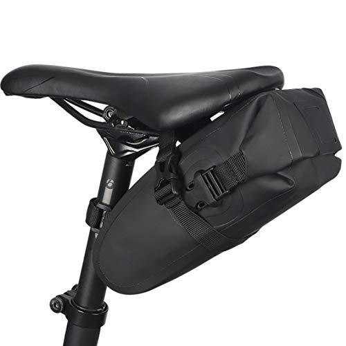 HJSW Bolsa de Sillín de Bicicleta de Montaña Impermeable, Silla de Montar Bolsa Portátil Paquete de Cuña Accesorios Bicicletas para Carretera y Otras Bicicletas Competiciones de Ciclismo, 1.5L, Negro