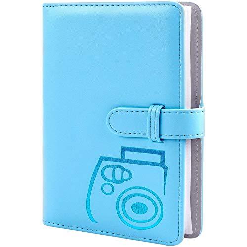 96 Pockets Wallet Fotoalbum mit PU-Leder, kompatibel mit Fujifilm Instax Mini 11 / 7S / 8/8 + / 9/25 / 26/90 / 70 / 50s Sofortbildkamerafilm und Polaroid Snap (Blue)