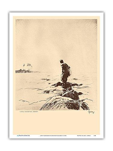Pacifica Island Art Pescador Solitaria (Lawai'a) Hawaii - De Grabados y Dibujos de Hawaianas - Grabado a Punta Seca de John Melville Kelly c.1930 - Impresión de Arte 23x31cm