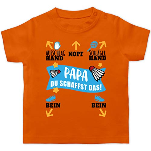 Sport Baby - Papa - Du schaffst das! - schwarz/blau - 12/18 Monate - Orange - Papa du schaffst das - BZ02 - Baby T-Shirt Kurzarm