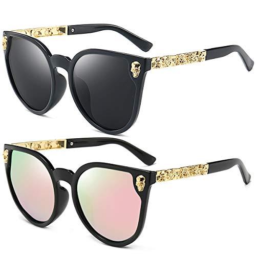 Dollger Womens Cateye Sunglasses Skull Design Big Frame Mirror Fashion Sunglasses Black and Pink