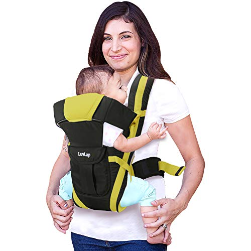 LuvLap Elegant Baby Carrier with 4 carry positions, for 4 to 24 months baby, Max weight Up to 15 Kgs (Black & Green)