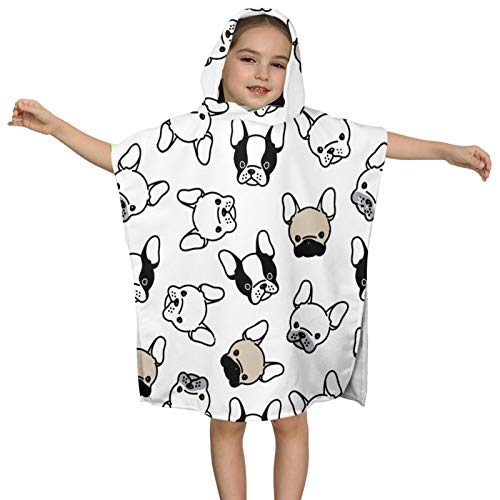 Kids' Bath Towels Hooded French Bulldog Pug Head Super Soft Absorbent Towel Bath Pool Beach Boys and Girls