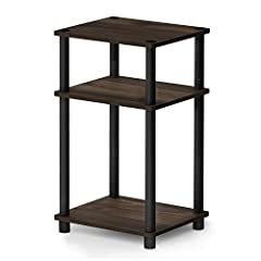Simple stylish design: petite size 3-tier end table suitable for small spaces Quality material: high Quality medium density composite wood and plastic tubes. Added safety feature: rounded corner reduces the risk of injury Added durability with its sc...