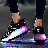 XRDSHY Zapatillas De Patinaje LED extraíbles se convierten en Luces de Entrenador Deportivo Zapatillas Luminosas con Ruedas Dobles para niños y Niñas,Black-34
