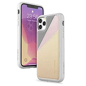 Amber & Ash Card Case Wallet for iPhone 11 Pro (5.8in) - Protective Leather Back- 2 Card Slots - Metallic Ombre.