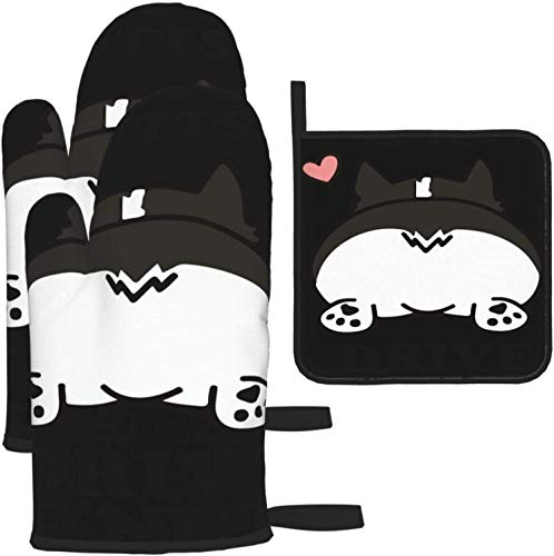 MODORSAN Love Corgi Butts Oven Mitts and Pot Holders Non Slip Heat Resistant Kitchen Oven Gloves for Cooking,Baking,Grilling,Barbecue