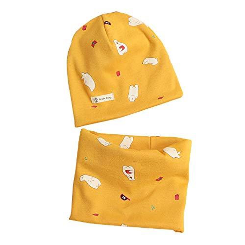 CMTOP Baby Mütze+ Loop Schal Set Baumwollmütze Weich Kinder Mode Beanie Mütze Nackenwärmer Halsbänder Halstuch Herbst Winter Cartoon drucken