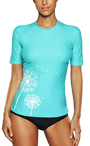 Attraco  Damen Badeanzug Rash Guard UV Schutz Shirts Kurzarm Surf Shirt UPF, 36,S, Türkis