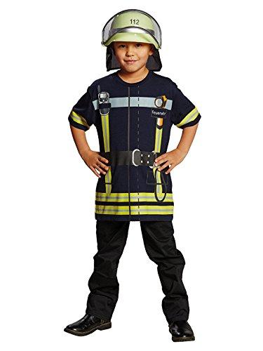 Generique - Feuerwehrmann-Spielshirt für Kinder blau-gelb