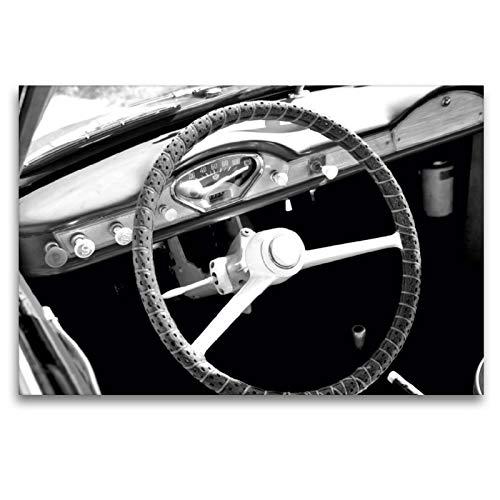 Premium Textil-Leinwand 120 x 80 cm Quer-Format Goggomobil Coupè 250 TS in schwarzweiss | Wandbild, HD-Bild auf Keilrahmen, Fertigbild auf hochwertigem Vlies, Leinwanddruck von Ingo Laue