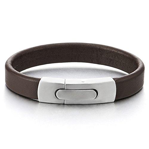 COOLSTEELANDBEYOND Braun Lederarmband Herren Damen Armband Echtes Leder Armreif mit Edelstahl Federringverschluss