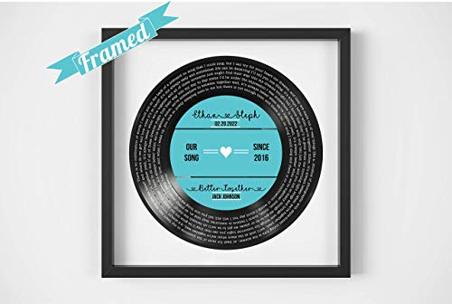 Personalized Record Print Personalized Vinyl Record Song Lyrics Frame Our Song Custom Song Lyrics...