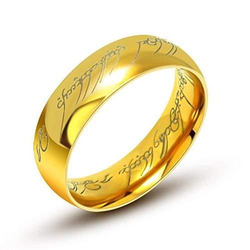"""Aurstore® - Anello in Tungsteno, 6mm, Motivo """"Il Signore degli Anelli"""", Misura a scelta: 16-28,con Catenina in Acciaio da 54cm e tungsteno, 28, colore: oro, cod. bagueseign02"""