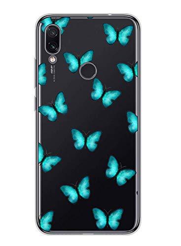 Suhctup Compatible con Xiaomi Redmi Note 6 Pro Funda de Transparente Silicona con Dibujos Mariposa Lindo Diseño Patrón Cárcasa Ultrafina Suave TPU Antigolpes Bumper Protección Caso-A9