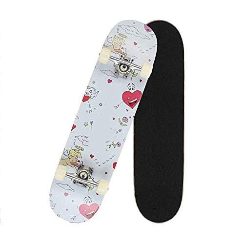 LITINGT Patineta de plástico Retro Cruiser, 31 Pulgadas x 8 Pulgadas, patineta Doble para Adolescentes, Principiantes, niñas y niños