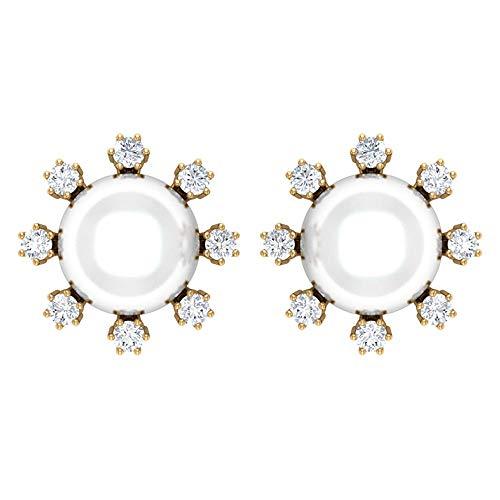 Fresh Water Pearl Diamond Earring, 8 CT 8 MM Fresh Water Pearl Stud Earring, HI-SI 1/2 CT Round Diamond Earring, Unique Wedding Earring, Bridesmaid Earring, Bridal Jewelry,18K Yellow Gold, Pair