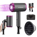 Secador de pelo de viaje, difusor de pelo, secador de pelo de iones con 3 ajustes de calor, difusor y concentradores para muchos peinados, pequeño y silencioso, para viajes y familias