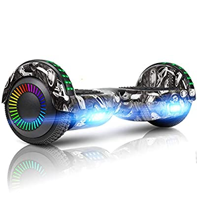 "Spadger 6.5"" Hoverboard Self Balancing Hoverboard Electric Scooters for Kids Adults w/Built- in Bluetooth Speaker and Flash Wheel Lights"
