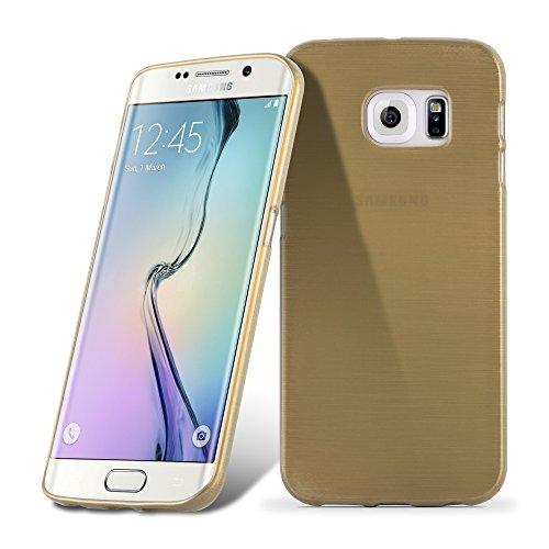 Cadorabo Hülle für Samsung Galaxy S6 Edge in Gold - Handyhülle aus flexiblem TPU Silikon - Silikonhülle Schutzhülle Ultra Slim Soft Back Cover Case Bumper