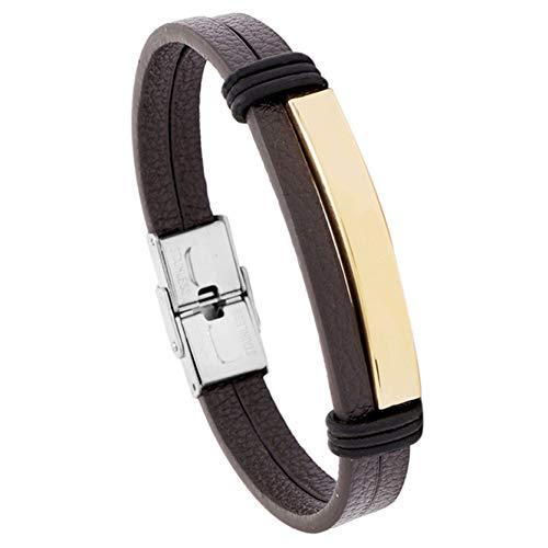 EMFGJ Pulsera para hombre, de piel sintética, trenzada, de acero inoxidable, de color negro, ideal como regalo para hombres, de piel marrón + dorado