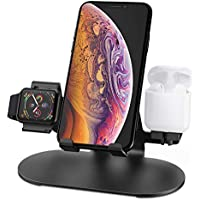 HoRiMe 3 in 1 Aluminum Charging Station for iPhone, AirPods & Apple Watch (Black)