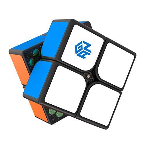 GAN 251 M, 2x2 Magnético Cubo Mágico Cubo de Velocidad Juguete Rompecabezas Gan251 (Negro con Stickers)