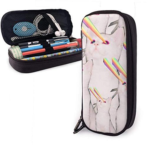 Láser de piel con diseño de gato blanco con cremallera, caja de material escolar para estudiantes, papelería de gran capacidad, caja con impresión de nanotecnología 3D para niñas, niños y adultos