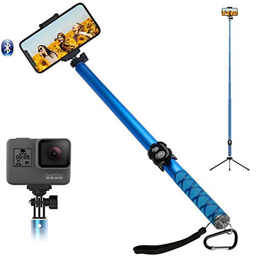 Extra Long Selfie Stick, 118In Extendable Selfie Stick with Bluetooth Tripod Wireless Remote Shutter Holder for iPhone Android Samsung Cell Phone (6 sections size)