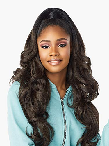 Sensationnel INSTANT UP & DOWN Half Wig Wrapped Ponytail Big Waves Yaki Texture Blowout Look Easy Styling Heat Resistant Synthetic Fiber Pony Wrap Sleek Finish - UD 6 (1B)