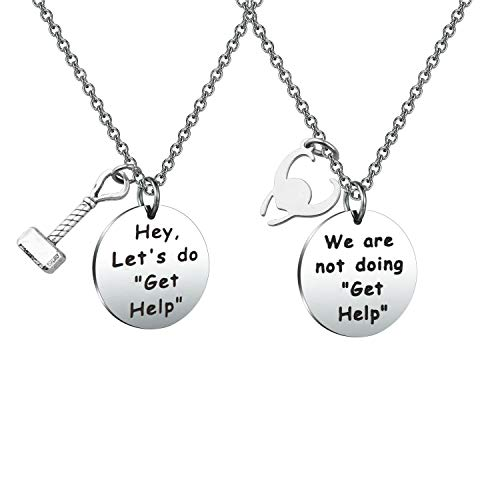 Thor Loki Friendship Jewelry Marvel Comic Inspired Necklace Gift for Friend Hey Let's Do Get Help (Get Help NE)